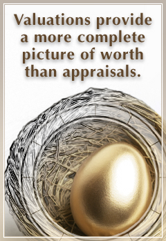 Valuations provide a more complete picture of worth than appraisals.